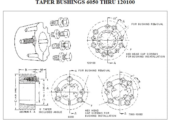 Split Taper Bushings Taper Bore Adapters Weld On Hubs 6050 7060 8065 10085 120100